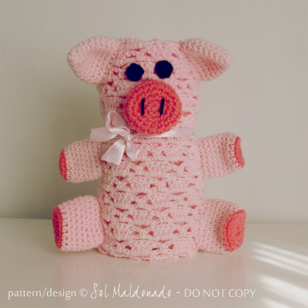 Free Easy Crochet Patterns For Baby Toys : baby pig blankie pdf crochet pattern Piggy amigurumi toy and