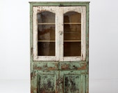 RESERVE antique primitive pie safe cabinet, painted farmhouse hutch
