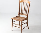 antique caned wood chair, spindle back chair