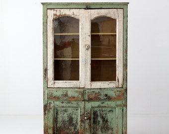 antique primitive pie safe cabinet, painted farmhouse hutch