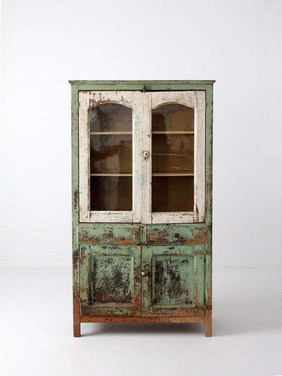 Reserve Antique Primitive Pie Safe Cabinet Painted Farmhouse