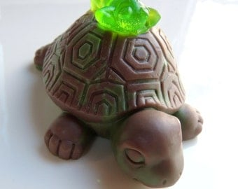 FROG SOAP, Mr. Frog & Turtle Soap, 4OZ Bar, Turtle Soap, Lime Green, Brown, and Dark Green, Scented in Sage and Lemongrass