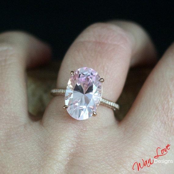 Custom Celebrity Light Pink Sapphire Diamond Engagement Ring