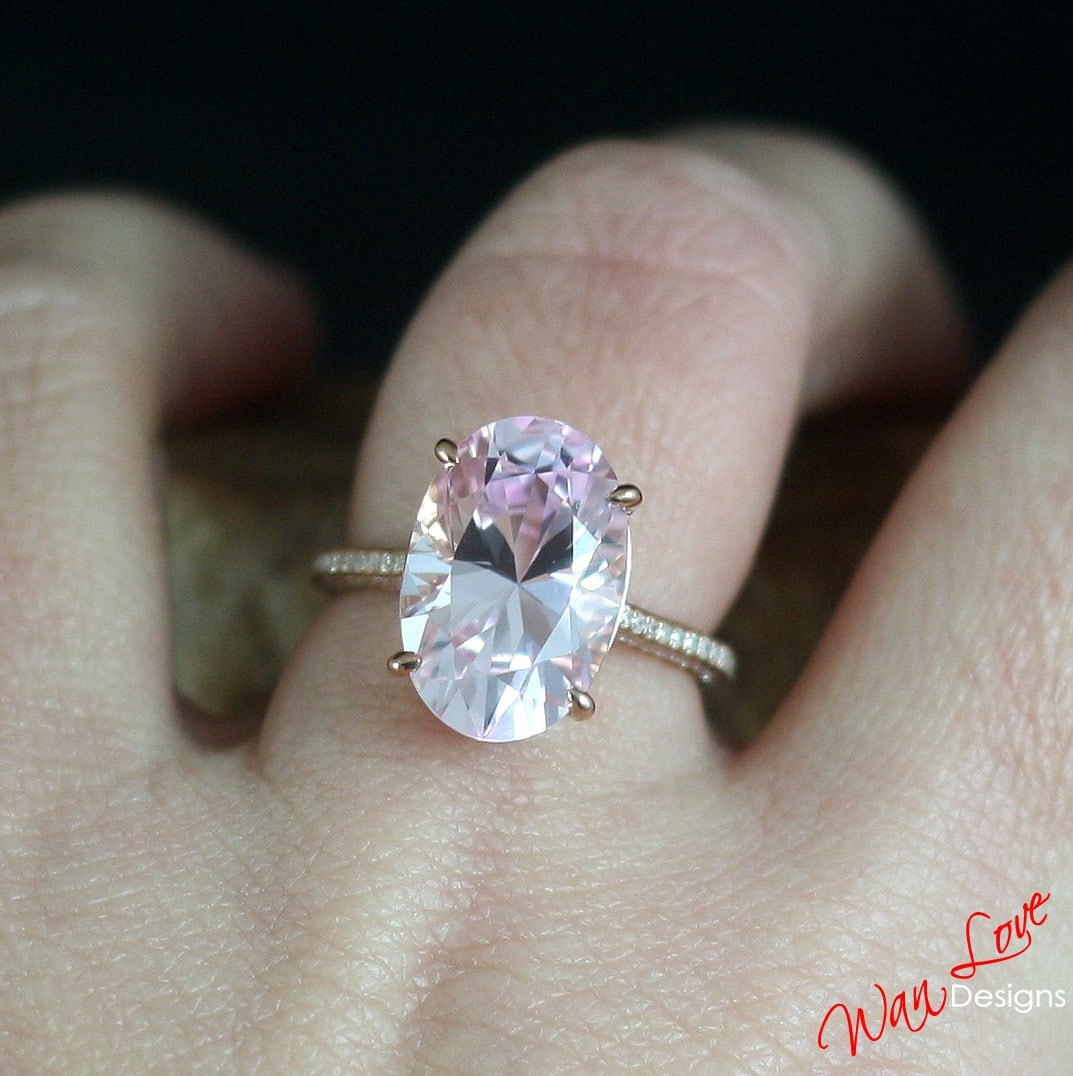 Custom Celebrity Light Pink & White Sapphire Oval Engagement