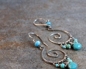 Turquoise sterling silver spiral urban tribal earrings