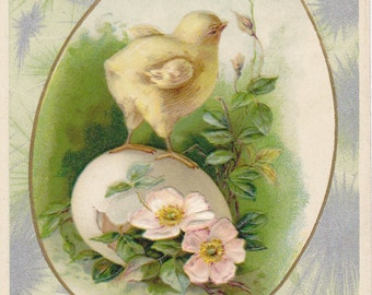Hearty Easter Greeting- 1910s Antique Postcard- Dogwood Flowers- Hatchling Chick- Edwardian Easter- Spring Decor- Paper Ephemera- Used