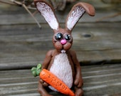 Bunny Carrot Polymer Clay Scupture