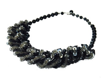 Vintage Black Bead and Sequin Necklace