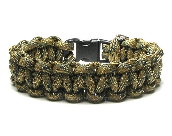 Paracord Bracelet Tri Camo Olive Green Camouflage Nature Hunter Climbing Survival Accessory Outdoorsmen Military Veteran Scout Cord Gift Box