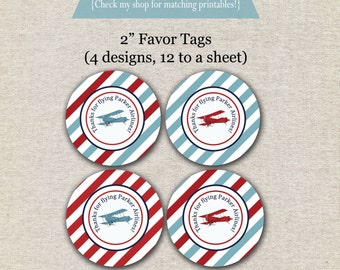 Vintage Airplane Favor Tags - red and blue | Vintage Airplane Thank You Tags | Vintage Airplane Party Printables | Aviator Party