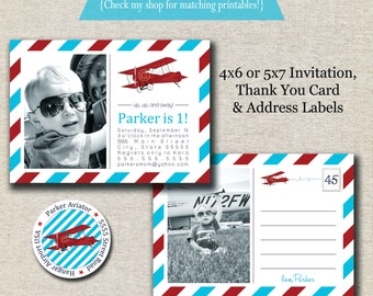 Vintage Airplane Invitation - Thank You Card - Return Address Label set - red and aqua   Vintage Airplane Party Printables   Aviator Party