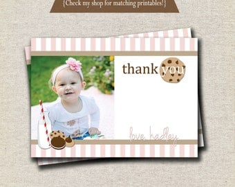 Milk and Cookies Thank You Card - pink and white | Milk and Cookies Photo Card | digital printable