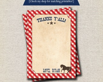 Cowboy Thank You Card - red and blue | Cowboy Birthday Baby Shower Thank You Card | Vintage Cowboy Party Printables