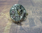 Steampunk Watch Movement Ring with Lilac Swarovski Crystals - Great for a Christmas gift!