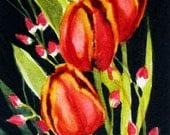 Orange Gold Tulips , Tiny Original Art , Watercolor Painting