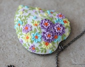 Pretty Polymer Clay Floral Applique Heart Pendant Necklace