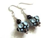 Bumpy Blue & Brown Lampwork Earrings With Brown Swarovski Pearls