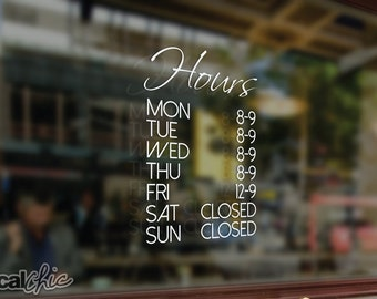 FREE SHIPPING Customized Business Hours Window Decal for Shops/Salons/Cafes/Restaurants/etc ~ Custom Size and Color
