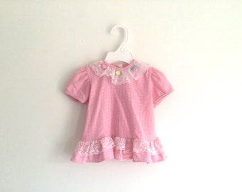 1980s baby girls puff sleeve ruffle lace rosette top