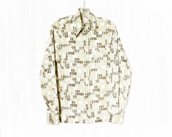 Vintage 60s Mod Graphic Novelty Print Pointed Collar Shirt M Brown Tan White