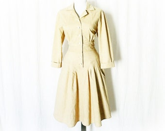 Vintage 50s Khaki Tan Day Dress S M Yoked Western Knee Length