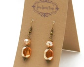 Pretty little glass bead earrings with filigree - special holiday price!  gifts under 10 SST3115