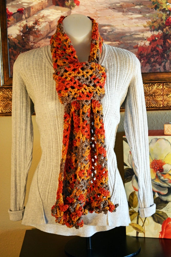 Handmade crochet scarf - Autumn colors with ruffle fringe