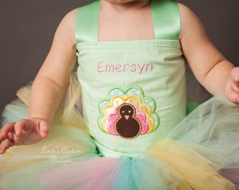 Child Thanksgiving Turkey Holiday Monogram Tutu Set for Parties, Holidays, Pageants, Embroidered Turkey Applique, Custom Boutique
