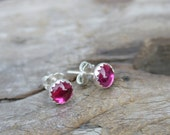 Tiny 6mm Serrated Ruby Button Post Earrings. Lab Ruby and Sterling Silver Serrated Bezel Set Stud Earrings.