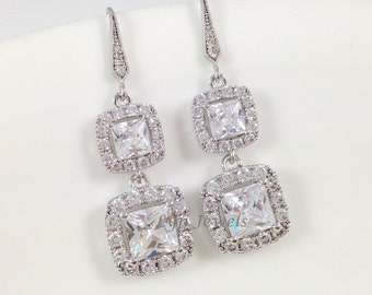 Long Wedding Earrings - Sparkly Cubic Zirconia Square Cushion Cut Dangle Princess Bridal White Crystal Earrings