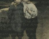 "Old Fashioned Postcard ""Confidence"" Children Big Brother/Little Sister - Digital Art - Scrapbooking, Card Making & Crafts - INSTANT DOWNLOAD"