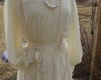 Vintage poly Downton Abbey teens style wedding dress 1970s does the teens romantic wedding dress
