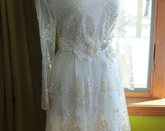 Lace short wedding dress sleeves reception dress wedding rehearsal dress beach wedding
