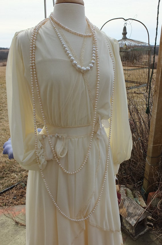 Vintage poly downton abbey teens style wedding dress 1970s for Downton abbey style wedding dress