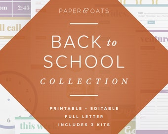 Back to School Collection – 3 Editable Sets of Teacher Planning & Classroom Organization, Calendars, To Do Lists, School Signage Decor