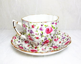Vintage - Victoria C & E China Tea Cup and Saucer - Floral Pink Rose Chintz