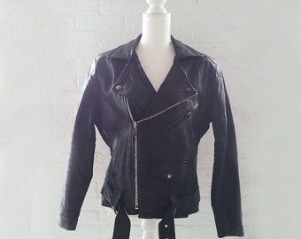 Motorcycle Jacket Vintage 80s Black Leather Biker Jacket Men's Medium Grunge Punk Rock Goth Industrial Steampunk Glam Rocker 90s Moto Jacket