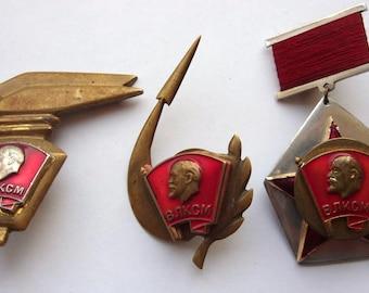 3pc. Soviet Era Demobee Dembel Soldiers ART VLKSM ScrewBack Badge Soviet Russian