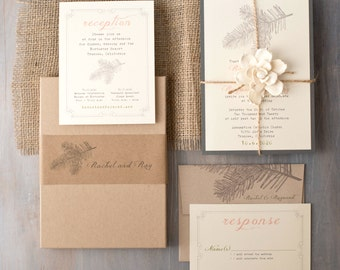 "Burlap Boxed Wedding Invitations, Woodland/Enchanted Forest Wedding Invites, Rustic - ""Moss Tree Box Invite"" Sample - NEW LOWER PRICE!"