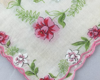 Vintage 1950s Handkerchief Hanky printed flowers leaves and hand fans pink red white yellow flowers scalloped edge