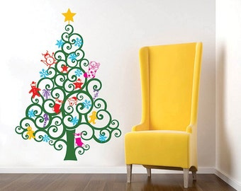 "On Sale- Happy Christmas Tree Wall Decal (59""H) -Holiday Sticker Kids Love Christmas Ornaments Snowman Snowflakes Candy Cranes Wall Decors"