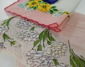 Lot of 3 Vintage Hankies Handkerchiefs with Floral Prints Roses Carnations Yellow Pink Blue Purple