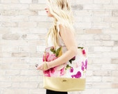 ONE WEEK Production Time -Floral Tote Bag - Vibrant Floral and Gold faux leather, classy handbag, oversized tote bag, summer bag