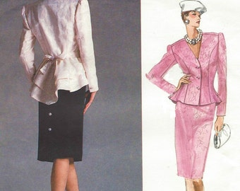 1980s Bellville Sassoon Womens Tiered Peplum Top & Back Buttoned Skirt Vogue Sewing Pattern 1902 Size 16 Bust 38 Designer Original