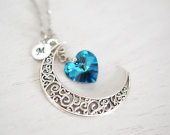 personalized crescent moon necklace, moon necklace, astrology sign, galaxy necklace, swarovski bermuda blue heart, love you to the moon