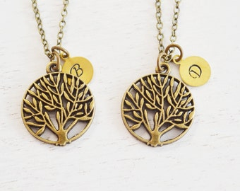 tree of life necklace, best friend jewelry, family tree necklace, personalized couples necklace, christmas, sister necklace, bridesmaid gift