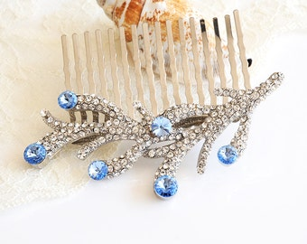 30% OFF, Bridal Hair Comb, Beach Wedding Hair Comb, Hair Accessories, Crystal Hair Comb, Wedding Hairpiece, Sea Coral Hair Jewelry, CORAL