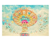 Carnival Photography. swings. santa cruz beach boardwalk. colorful art. nursery decor. children's room. bright. dreamy. whimsical. fun
