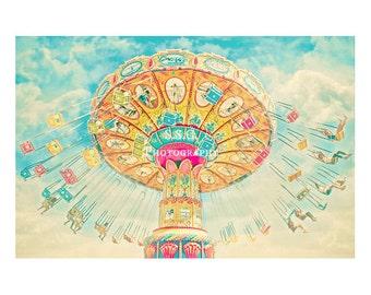 Carnival Photography. swings. santa cruz beach boardwalk. colorful art. nursery decor. children's room. bright. dreamy. whimsical. fun