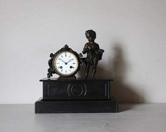 Antique French Marble and Bronze Colored Clock Napolean III French Cherub Mantle Clock.
